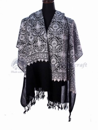 Black Lotus Hand Embroidered Fine Shawl (MHES01)