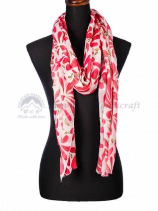 Crimson Floral Printed Shawl (MHPS03)