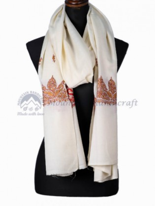 White Colored Embroidered Shawl (MHES04)