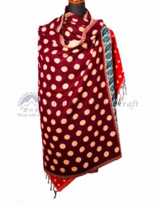 Maroon Yak Wool Dhaka Blanket (MHDB04)