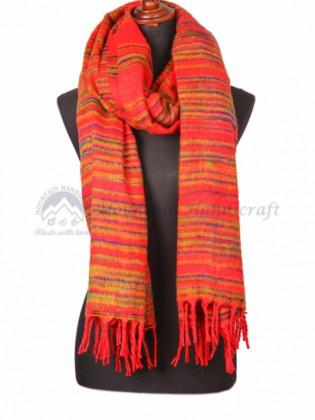 Exclusive Red Yak Wool Dhaka Blanket(MHYB07)