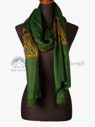 Heena Green Embroidered Shawl (MHES06)