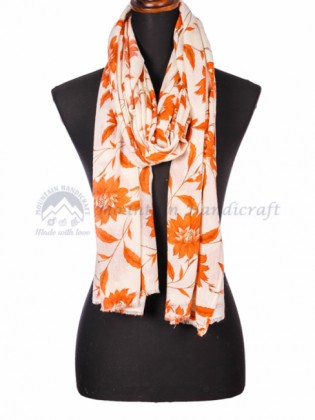 Orange Colored Printed Shawl (MHPS07)