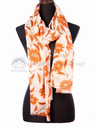 Orange Floral Printed Shawl (MHRPS07)