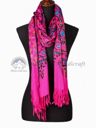 Hot Pink Embroidered Shawl (MHES09)