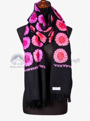 Pink Flowered Hand Embroidered Shawl with Flower(MHES02)