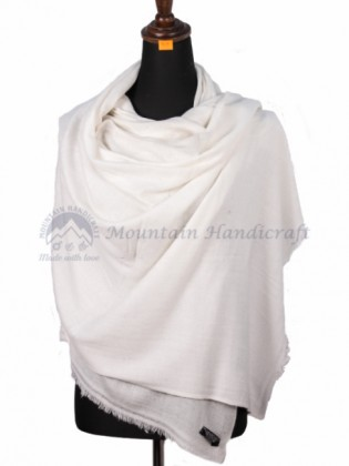 Pure White Cashmere Color Shawl (MHCS08)